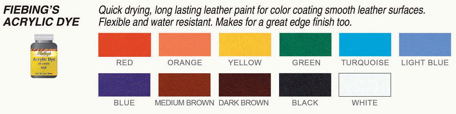 Fiebings Acrylic Dye Chart