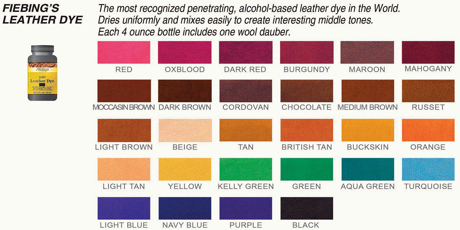 Fiebings Leather Dye Chart
