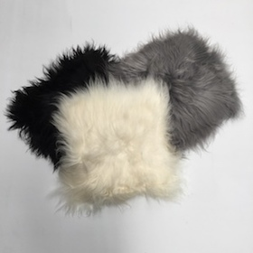 Icelandic Sheepskin Cushions - Black, White and Grey